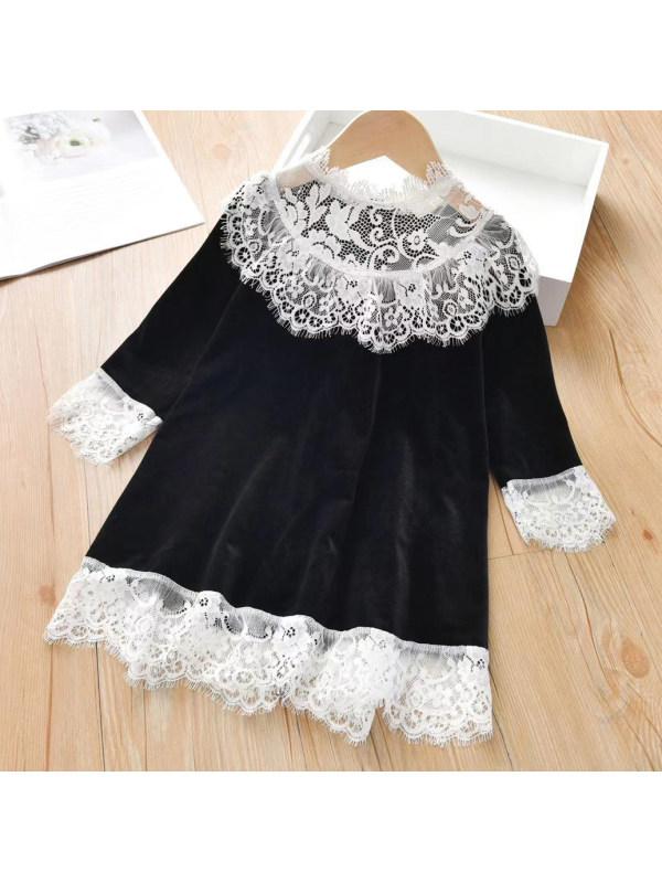【18M-7Y】Sweet Lace Collar Long Sleeve Velvet Dress