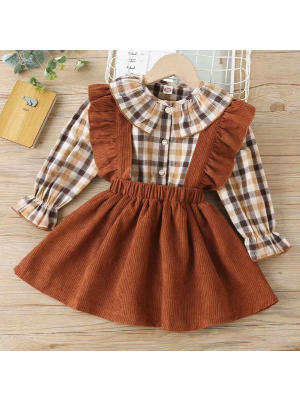 【18M-7Y】Cute Plaid Shirt and Brown Skirt Set