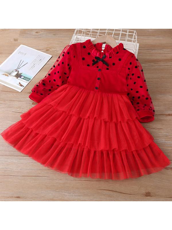 【18M-7Y】Sweet Bow and Polka Dot Print Red Velvet Dress