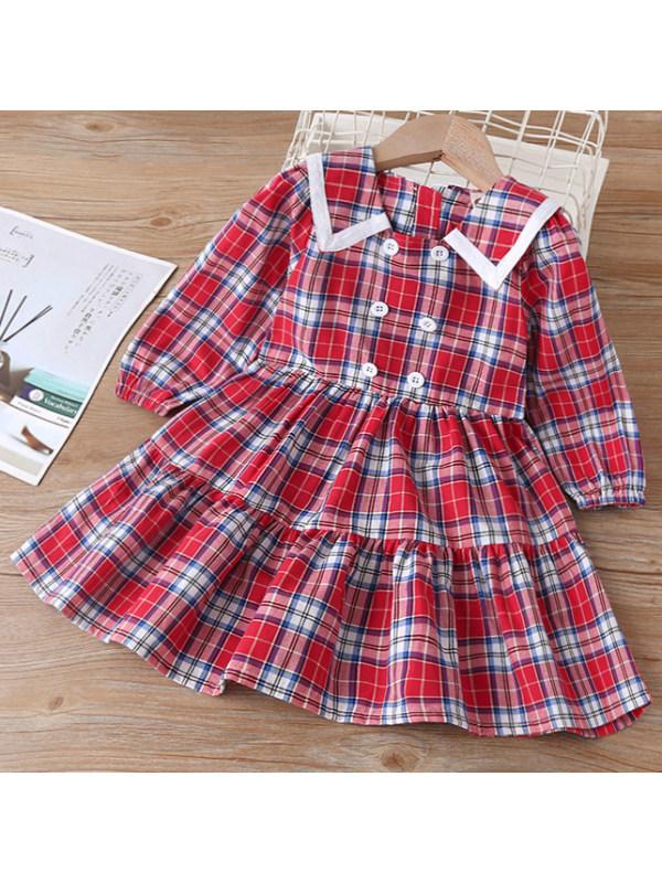 【18M-7Y】Sweet Red Plaid Long Sleeve Dress