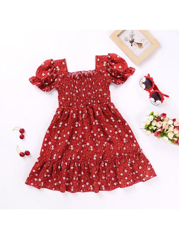 【18M-7Y】Girls' Flowers Print Short-sleeved Princess Dress