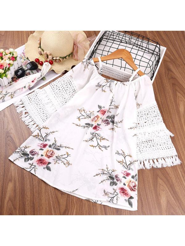 【4Y-13Y】Girls' Print Stitching Long-sleeved Princess Dress