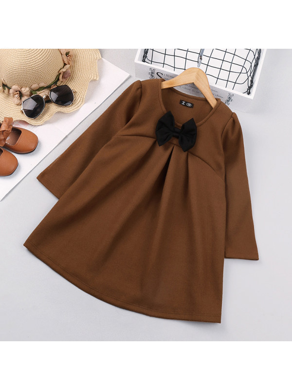 【18M-7Y】Girls Long-sleeved Bow Princess Dress