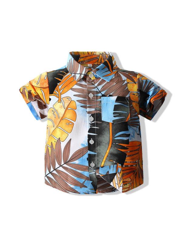 【18M-7Y】Summer Boy Short-sleeved Floral Shirt