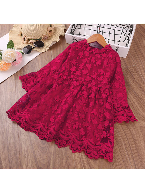 【18M-3Y】Girls' Flower Embroidery Long-sleeved Princess Dress