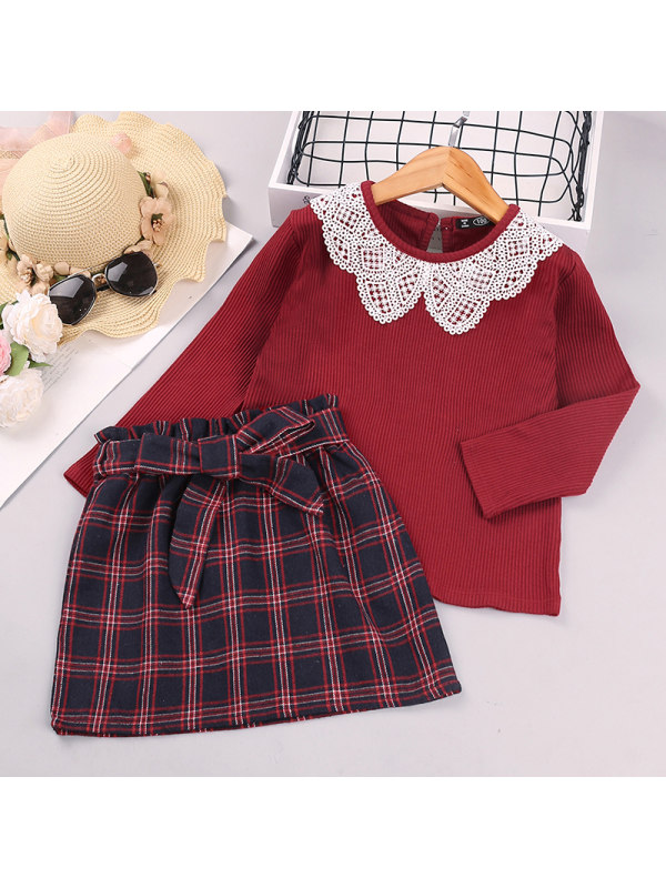 【18M-7Y】Girls' Suit Skirt Lace Collar Long-sleeved Plaid Two-piece Suit