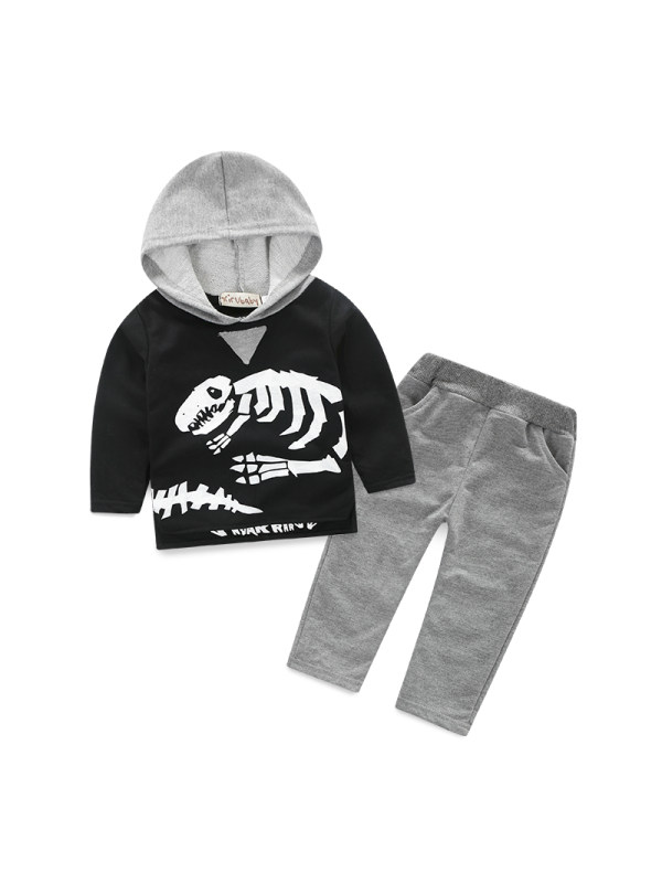 【12M-5Y】Boys Spring and Autumn Dinosaur Hooded Sweater Suit