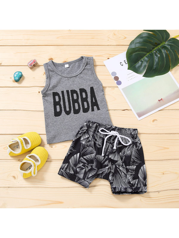 【6M-4Y】Baby Boy Printed Short-sleeved T-shirt and Shorts Two-piece Set