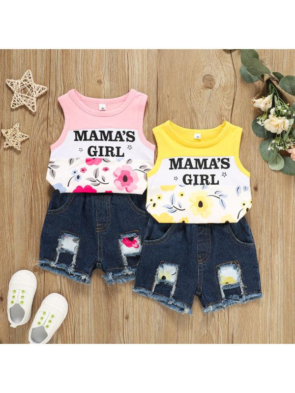 【12M-4Y】Girls Casual Letter Print Round Neck Vest Denim Shorts Suit