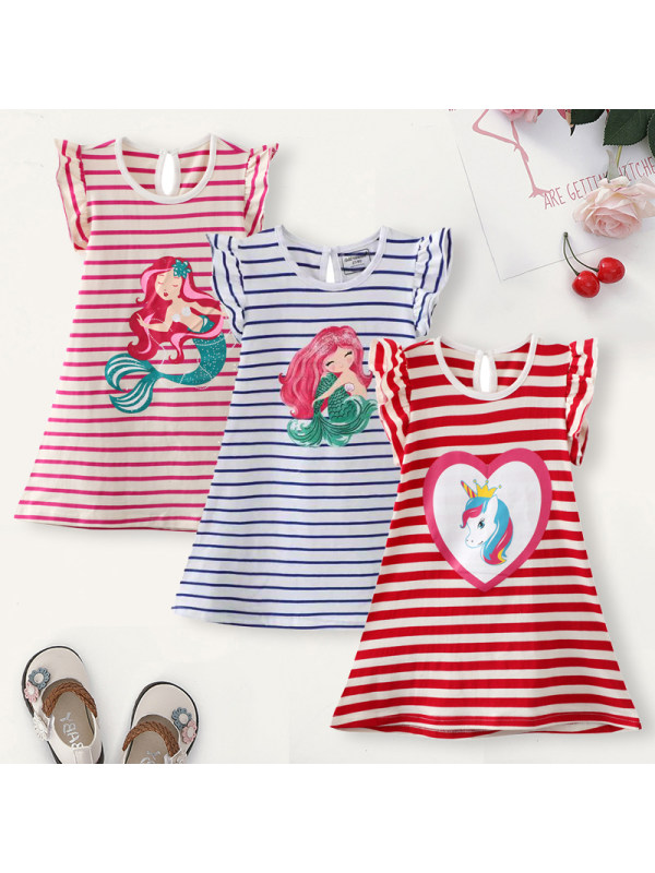 【18M-7Y】Girl Sweet Striped Cartoon Pattern Short Sleeve Dress