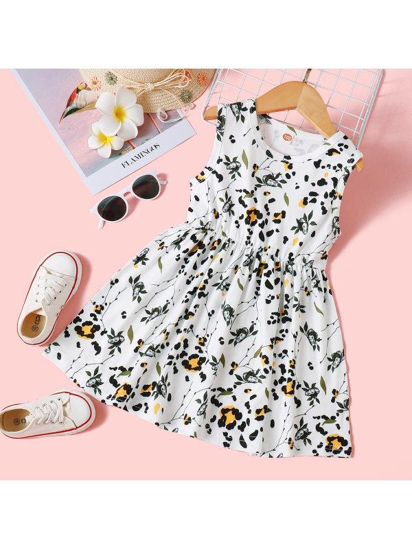 【18M-7Y】Girls Print Sleeveless Dress