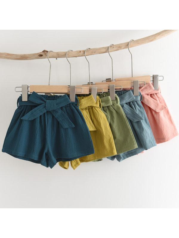 【2Y-9Y】Girls Solid Color Bow Belt Shorts