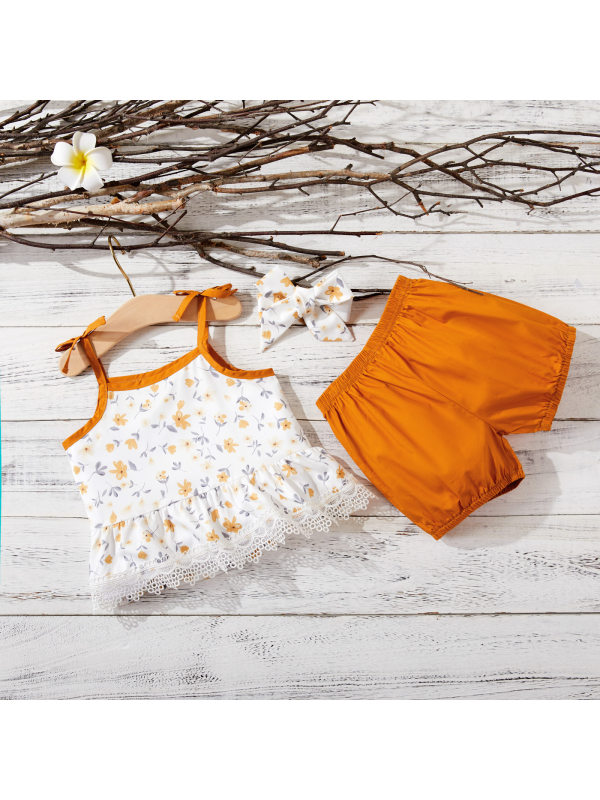 【6M-4Y】Toddler Girl Sleeveless Double Shoulder Strap Printed Top With Elastic Waist Bandana Shorts Three-piece Suit