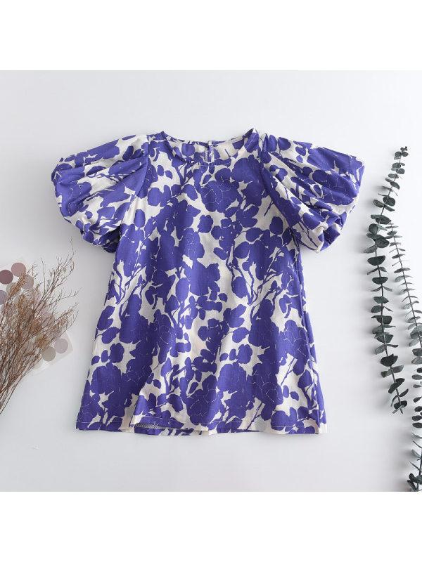 【2Y-9Y】Girls Purple Flower Print Puff Sleeves Dress
