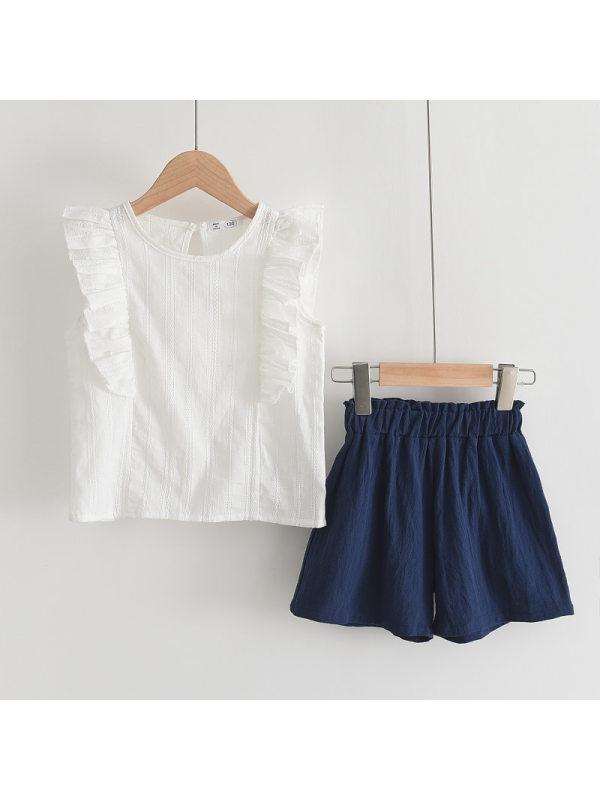 【2Y-9Y】Girls Sleeveless Shirt Blue Shorts Solid Two-piece Set