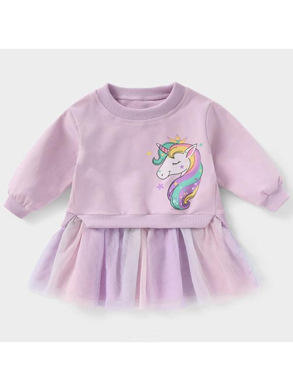 【18M-7Y】Girls Unicorn Printed Top Short Skirt Two-Piece Set