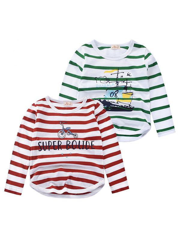 【18M-9Y】Boys Long Sleeve Striped T-shirt