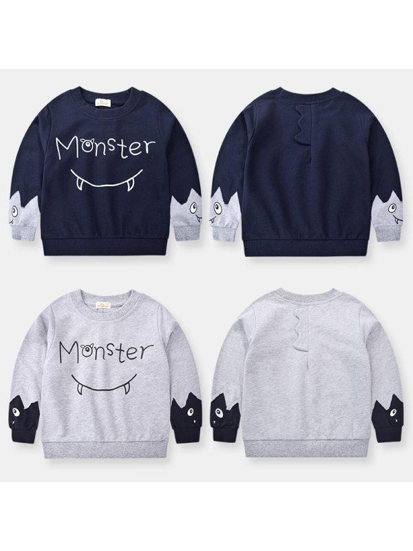 【18M-9Y】Boys Cartoon Print Pullover Sweater