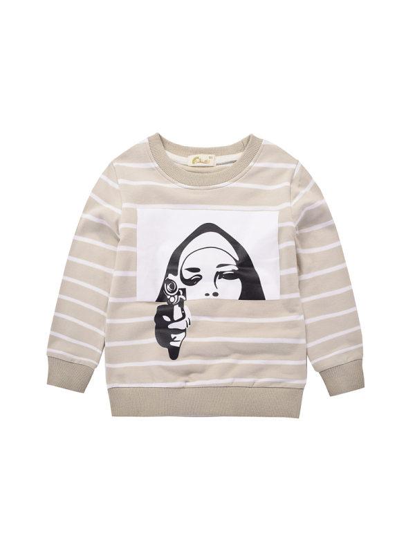 【18M-9Y】Boys Striped Pattern Print Pullover Sweatshirt
