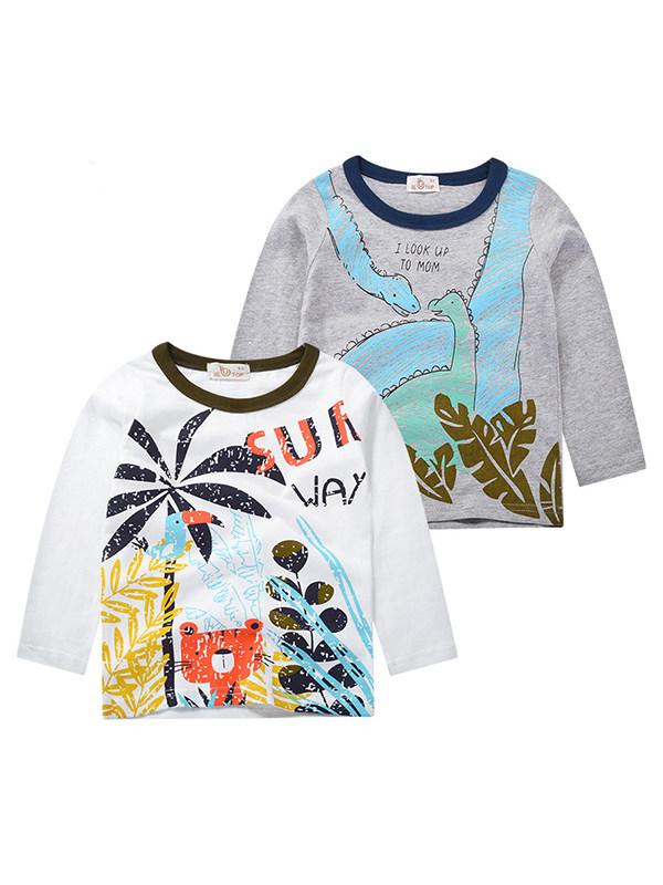 【18M-9Y】Boys Cartoon Print Long Sleeve T-shirt