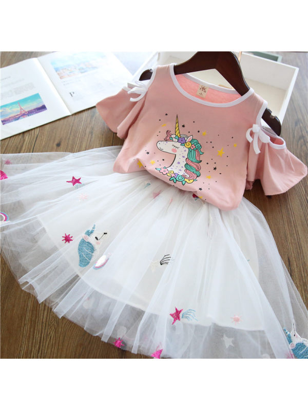 【2Y-9Y】Girls Cartoon Print Short-Sleeved Blouse and Skirt Two-Piece Suit