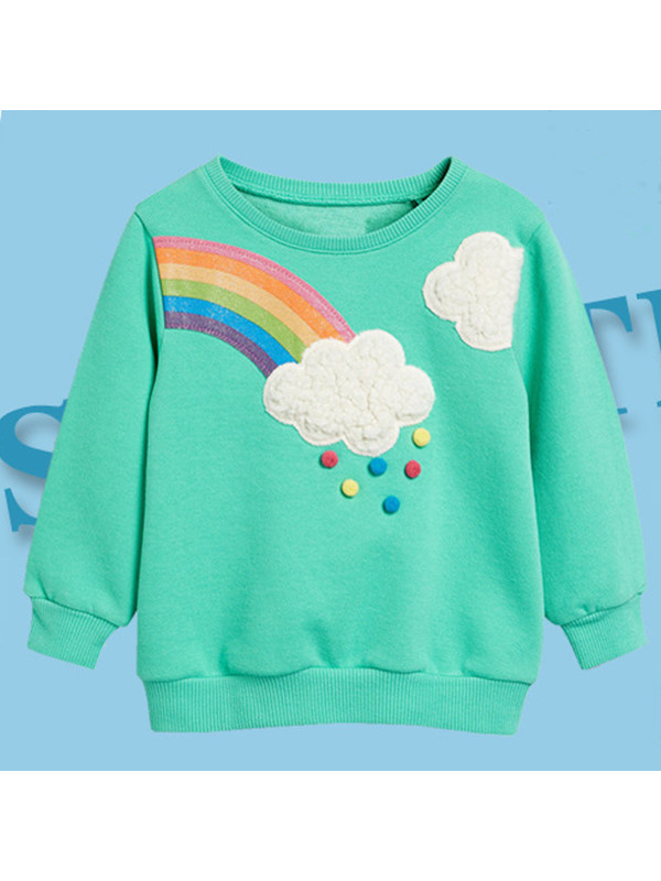 【18M-9Y】Girls' Embroidered Contrast Sweater