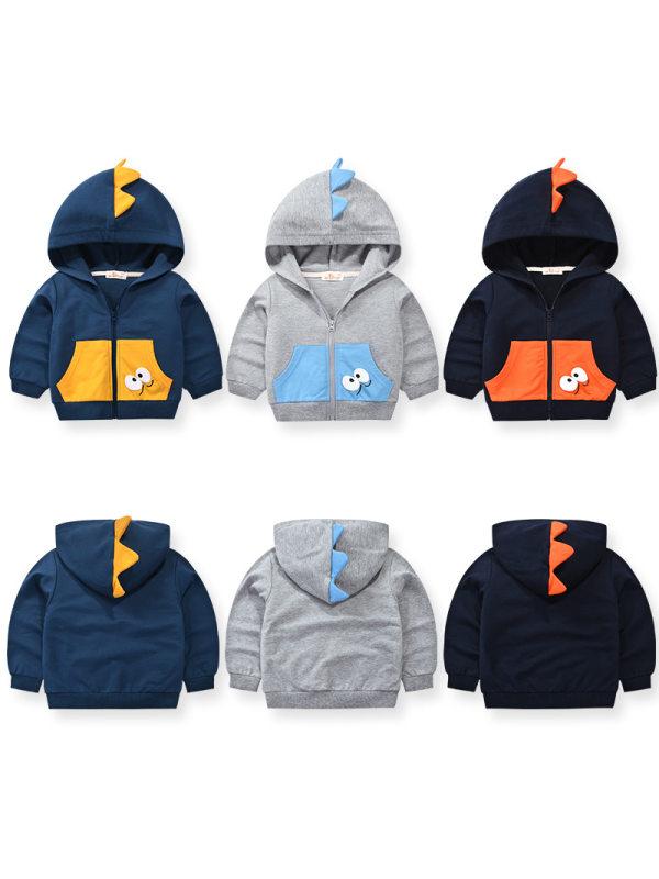 【18M-9Y】Boys Contrast Stitching Cartoon Print Hooded Jacket