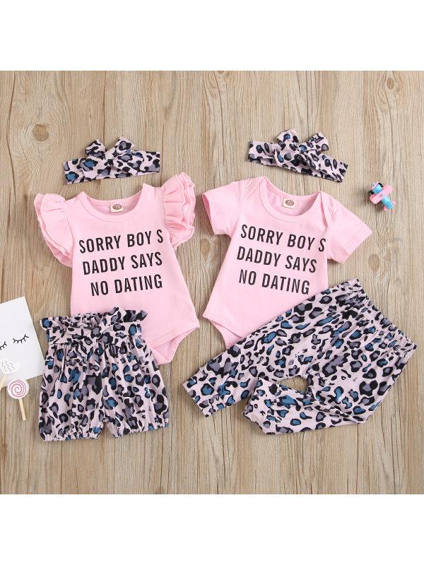 【6M-3Y】Girls' Short-sleeved Leopard Print Romper Set