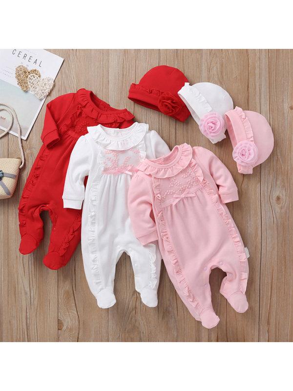 【3M-18M】Baby Girl Long-Sleeved Romper