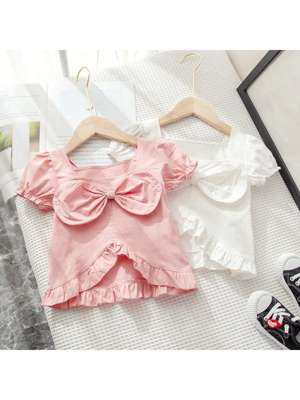 【18M-7Y】Girls' Square Neck Puff Sleeve Solid Color Bow Short-sleeved Top