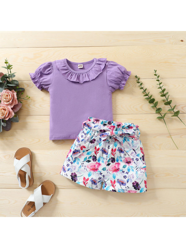 【18M-5Y】Girls Purple Puff Sleeve Top And Floral Shorts Two-piece Suit