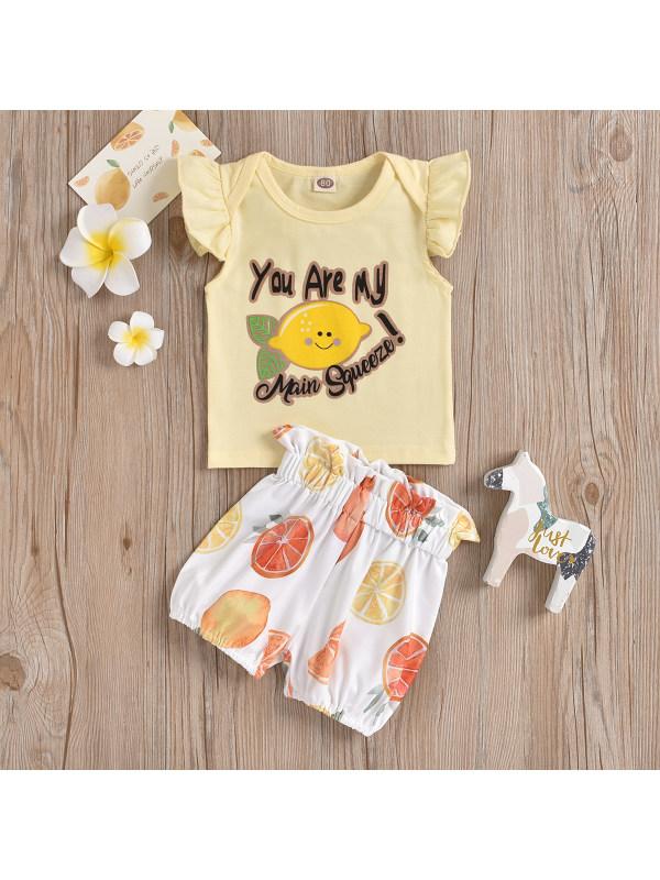 【12M-4Y】Girls Fruit Print T-shirt Shorts Set