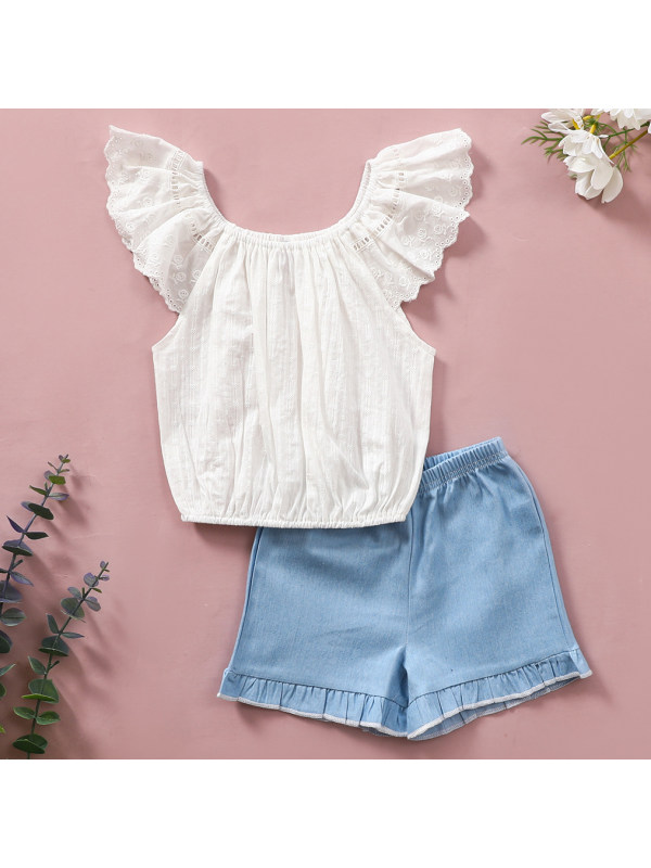 【6M-24M】Sweet Embroidered White Top and Blue Denim Shorts Set