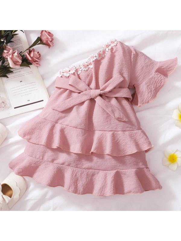 【3M-3Y】Sweet Flowers One-shoulder Pink Dress