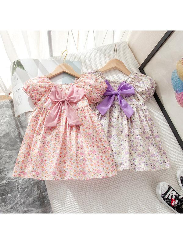 【18M-7Y】Girls Floral Bow Puff Sleeve Dress