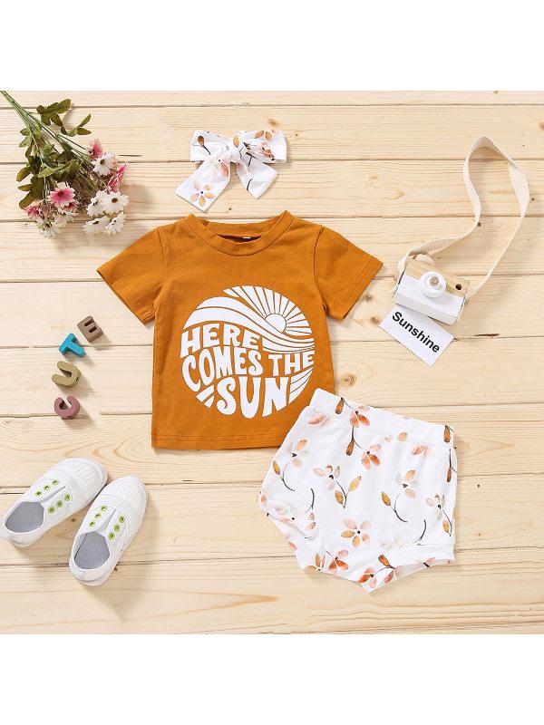 【6M-3Y】Girls Letter Print T-shirt Shorts Set