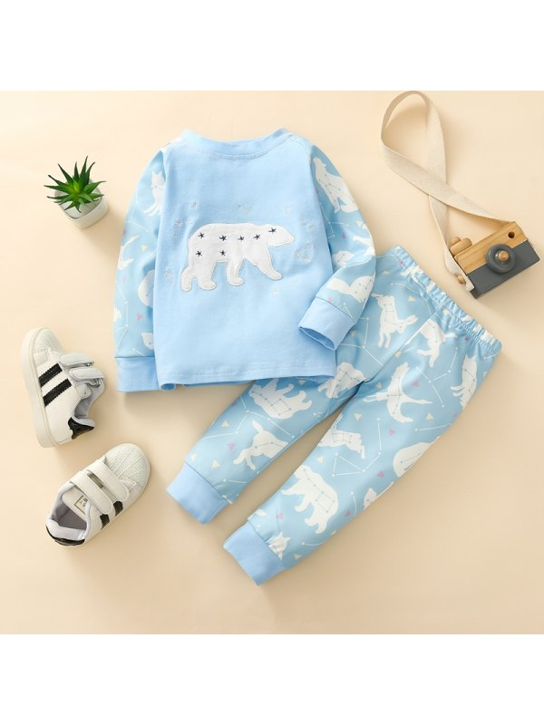 【12M-4Y】Children's Cartoon Print Long-sleeved Top With Trousers Suit