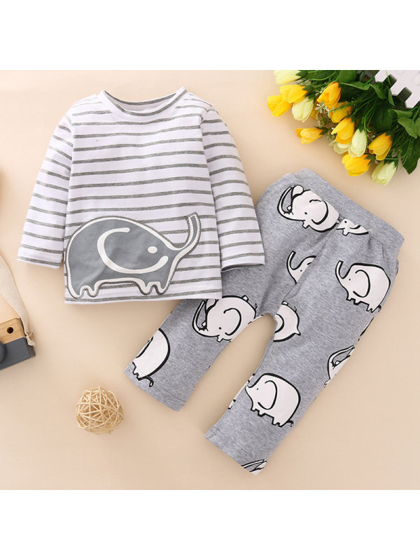 【6M-3Y】Two-piece Suit Of Gray Striped Cartoon Print Long-sleeved Plus Trousers For Baby Boys