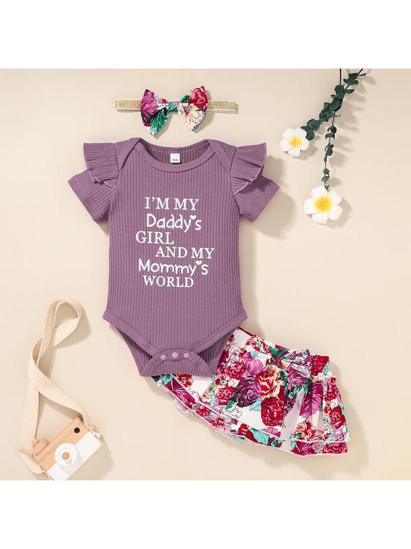 【6M-2.5Y】Girls Letter Print Romper and Floral Skirt Set
