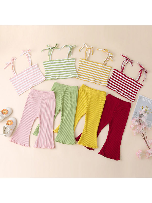 【6M-3Y】Girls' Striped Bell Bottom Suspenders Suit