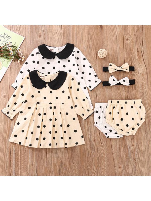 【6M-3Y】Girls Doll Collar Polka Dot Long Sleeve Dress Three-piece Set