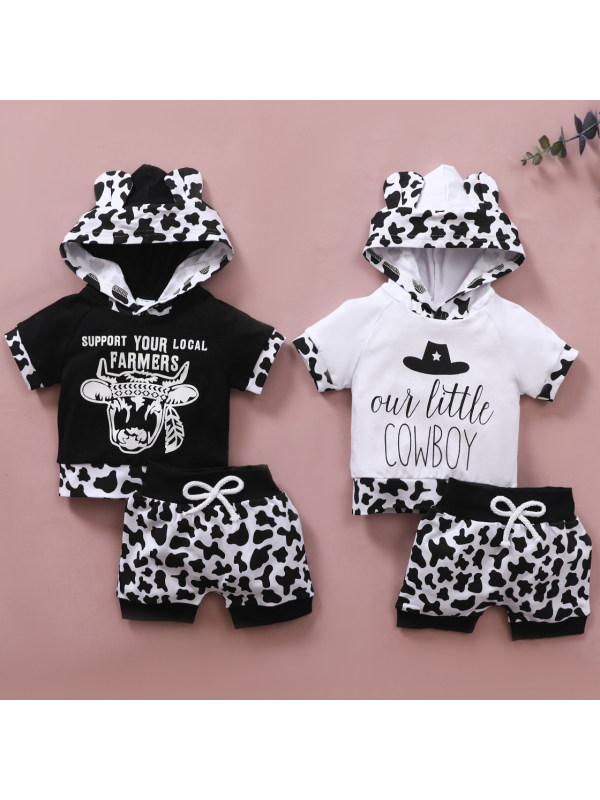 【0M-18M】Cute Casual Letter Print Hooded and Shorts Set