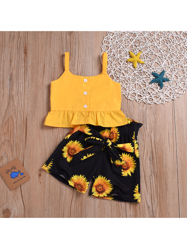 【12M-5Y】Summer Girl's Clothing Suspender Top Shorts Suit