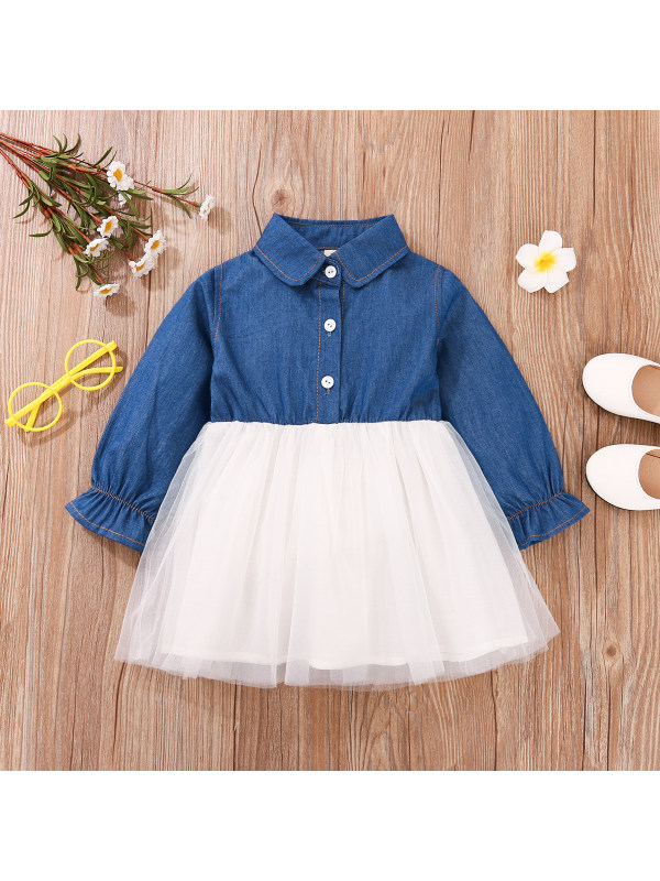【12M-4Y】Girls Lapel Denim Long Sleeve Mesh Dress