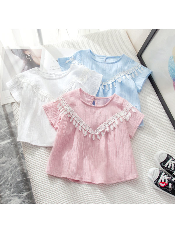 【18M-7Y】Girls' Round Neck Solid Color Fringed Short-sleeved T-shirt
