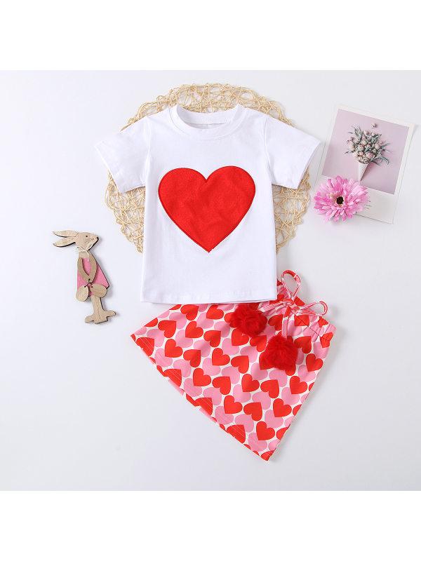 【18M-7Y】Girls Casual Cute Heart-shaped Short-sleeved T-shirt Skirt