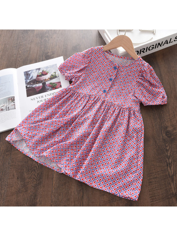【18M-9Y】Girls Round Neck Geometric Short-sleeved Dress