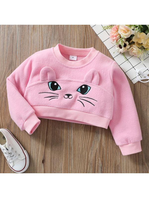 【18M-6Y】Cute Cartoon Embroidered Pink Sweatshirt
