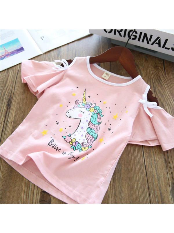 【18M-7Y】Girls Unicorn Cartoon Print Short-sleeved T-shirt