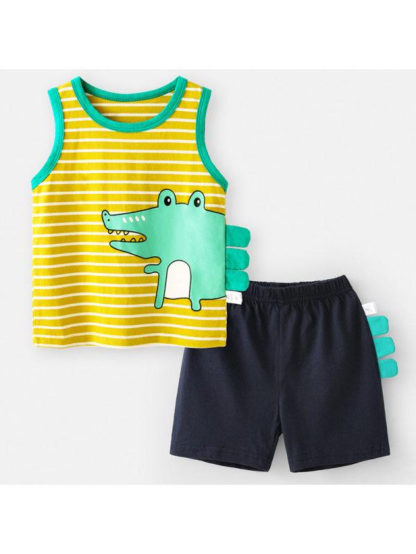 【12M-7Y】Boys Cartoon Print Cotton Vest Shorts Suit